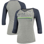 Russell Wilson Seattle Seahawks Women's Juniors Over the Line Player Name & Number Tri-Blend 3/4-Sleeve V-Notch T-Shirt - Heathe