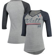 J.J. Watt Houston Texans Women's Juniors Over the Line Player Name & Number Tri-Blend 3/4-Sleeve V-Notch T-Shirt - Heathered Gra