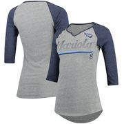 Marcus Mariota Tennessee Titans Women's Juniors Over the Line Player Name & Number Tri-Blend 3/4-Sleeve V-Notch T-Shirt - Heathe