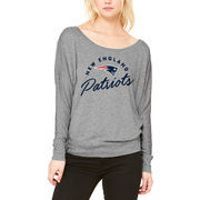 New England Patriots Let Loose by RNL Women's Arch Flow Long Sleeve T-Shirt - Heathered Gray
