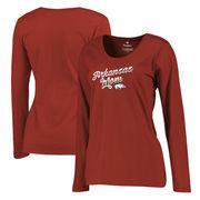 Arkansas Razorbacks Fanatics Branded Women's Plus Sizes Team Mom Long Sleeve T-Shirt - Cardinal