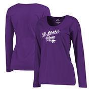 Kansas State Wildcats Fanatics Branded Women's Plus Sizes Team Mom Long Sleeve T-Shirt - Purple