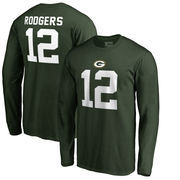 Aaron Rodgers Green Bay Packers NFL Pro Line by Fanatics Branded Authentic Stack Name & Number Long Sleeve T-Shirt – Green