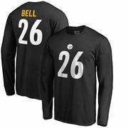 Le'Veon Bell Pittsburgh Steelers NFL Pro Line by Fanatics Branded Authentic Stack Name & Number Long Sleeve T-Shirt – Black