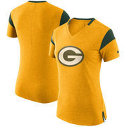 Green Bay Packers Nike Women's Fan V-Neck T-Shirt - Heathered Gold
