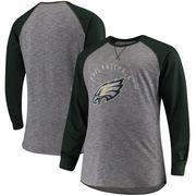Philadelphia Eagles Majestic Big & Tall Corner Blitz Raglan Long Sleeve T-Shirt - Heathered Gray/Midnight Green