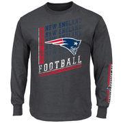 New England Patriots Majestic Big & Tall Dual Threat Long Sleeve T-Shirt - Charcoal