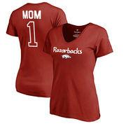 Arkansas Razorbacks Fanatics Branded Women's Number 1 Mom V-Neck T-Shirt - Cardinal
