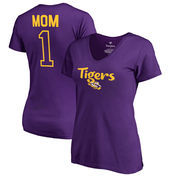 LSU Tigers Fanatics Branded Women's Plus Sizes Number 1 Mom V-Neck T-Shirt - Purple