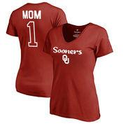 Oklahoma Sooners Fanatics Branded Women's Plus Sizes Number 1 Mom V-Neck T-Shirt - Cardinal