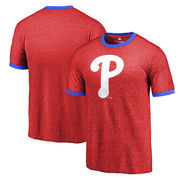 Philadelphia Phillies Fanatics Branded Refresh Horn Short Sleeve Tri-blend Ringer T-Shirt - Red