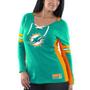 Miami Dolphins Majestic Women's Winning Style Long Sleeve T-Shirt - Aqua