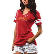 Kansas City Chiefs Majestic Women's Game Tradition Tri-Blend V-Neck T-Shirt - Red