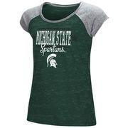 Michigan State Spartans Youth Girls Sprints Raglan T-Shirt - Green