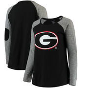 Georgia Bulldogs Women's Plus Size Preppy Elbow Patch Slub Long Sleeve T-Shirt - Black/Charcoal