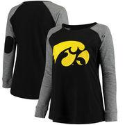 Iowa Hawkeyes Women's Plus Size Preppy Elbow Patch Slub Long Sleeve T-Shirt - Black/Charcoal