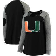 Miami Hurricanes Women's Plus Size Preppy Elbow Patch Slub Long Sleeve T-Shirt - Black/Charcoal