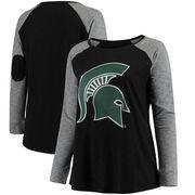 Michigan State Spartans Women's Plus Size Preppy Elbow Patch Slub Long Sleeve T-Shirt - Black/Charcoal