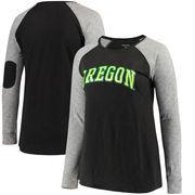 Oregon Ducks Women's Plus Size Preppy Elbow Patch Slub Long Sleeve T-Shirt - Black/Charcoal