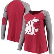 Washington State Cougars Women's Plus Size Preppy Elbow Patch Slub Long Sleeve T-Shirt - Crimson/Charcoal