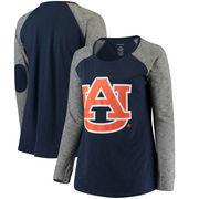 Auburn Tigers Women's Plus Size Preppy Elbow Patch Slub Long Sleeve T-Shirt - Navy/Charcoal