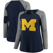 Michigan Wolverines Women's Plus Size Preppy Elbow Patch Slub Long Sleeve T-Shirt - Navy/Charcoal