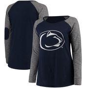 Penn State Nittany Lions Women's Plus Size Preppy Elbow Patch Slub Long Sleeve T-Shirt - Navy/Charcoal