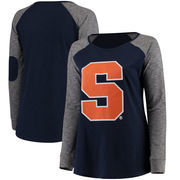 Syracuse Orange Women's Plus Size Preppy Elbow Patch Slub Long Sleeve T-Shirt - Navy/Charcoal