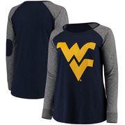 West Virginia Mountaineers Women's Plus Size Preppy Elbow Patch Slub Long Sleeve T-Shirt - Navy/Charcoal