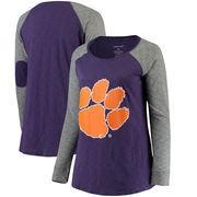 Clemson Tigers Women's Plus Size Preppy Elbow Patch Slub Long Sleeve T-Shirt - Purple/Charcoal