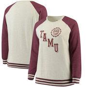 Texas A&M Aggies Pressbox Women's Plus Size Sundown Vintage Pullover Hoodie - Cream/Maroon