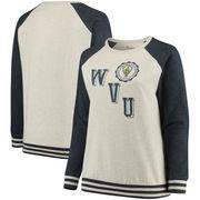West Virginia Mountaineers Pressbox Women's Plus Size Sundown Vintage Pullover Hoodie - Cream/Navy
