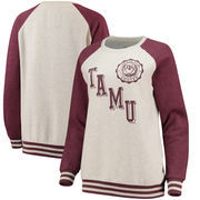 Texas A&M Aggies Pressbox Women's Sundown Vintage Pullover Sweatshirt - Cream/Maroon