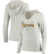 Antonio Brown Women's Pittsburgh Steelers Pocket Name & Number Hooded T-Shirt - Gray