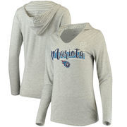 Marcus Mariota Women's Tennessee Titans Pocket Name & Number Hooded T-Shirt - Gray