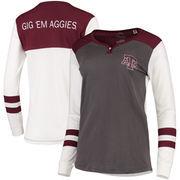 Texas A&M Aggies Pressbox Women's Mia Henley Long Sleeve T-Shirt – Charcoal/Maroon