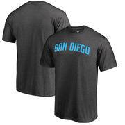 San Diego Padres Fanatics Branded Blue Wordmark T-Shirt - Ash