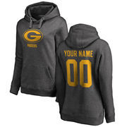 Green Bay Packers NFL Pro Line by Fanatics Branded Women's Personalized One Color Pullover Hoodie - Ash