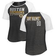 Boston Bruins Fanatics Branded Women's Personalized Assist Tri-Blend Raglan T-Shirt - Black/White
