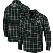 New York Jets Wordmark Flannel Long Sleeve Button-Up - Green/White