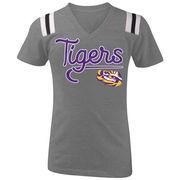 LSU Tigers 5th & Ocean by New Era Girls Youth Football Tri-Blend V-Neck T-Shirt - Heathered Gray