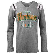 Miami Hurricanes 5th & Ocean by New Era Girls Youth Football Long Sleeve Tri-Blend V-Neck T-Shirt - Heathered Gray