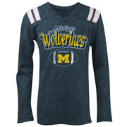 Michigan Wolverines 5th & Ocean by New Era Girls Youth Football Long Sleeve Tri-Blend V-Neck T-Shirt - Heathered Navy