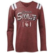 Oklahoma Sooners 5th & Ocean by New Era Girls Youth Football Long Sleeve Tri-Blend V-Neck T-Shirt - Heathered Crimson