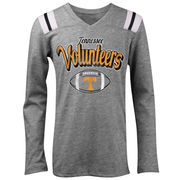 Tennessee Volunteers 5th & Ocean by New Era Girls Youth Football Long Sleeve Tri-Blend V-Neck T-Shirt - Heathered Gray