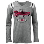 Wisconsin Badgers 5th & Ocean by New Era Girls Youth Football Long Sleeve Tri-Blend V-Neck T-Shirt - Heathered Gray