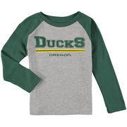 Oregon Ducks Preschool Field Line Raglan Long Sleeve T-Shirt - Heathered Gray/Green