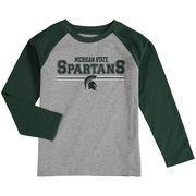 Michigan State Spartans Preschool Field Line Raglan Long Sleeve T-Shirt - Heathered Gray/Green