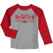 Ohio State Buckeyes Preschool Field Line Raglan Long Sleeve T-Shirt - Heathered Gray/Scarlet