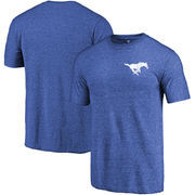 SMU Mustangs Fanatics Branded Primary Logo Left Chest Distressed Tri-Blend T-Shirt - Royal